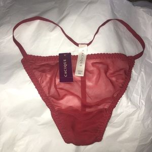 Cacique Burgundy Silk Thong G String Underwear